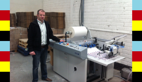 Damien Fitzgerald with the Komfi Delta 52 laminator