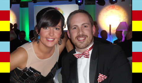 Conor Power Print & Finishing Sales Manager and Yvonne Maguire Marketing Executive from Neopost Ireland at the Irish Print Awards...