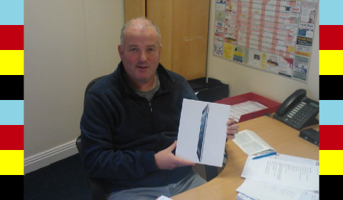 Pat Costello of Cube Printing with the iPad 2 he won by attending our Limerick Print & Finishing Roadshow....